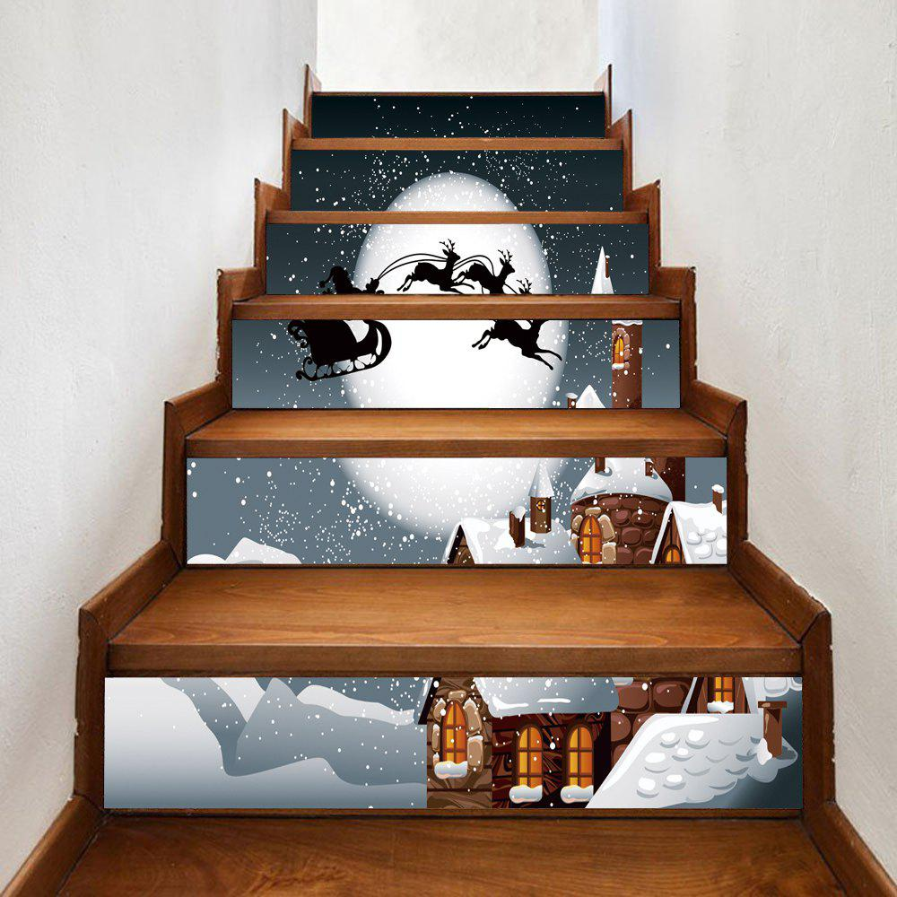 Christmas Night Castle Pattern Stair Stickers - COLORMIX 100*18CM*6PCS