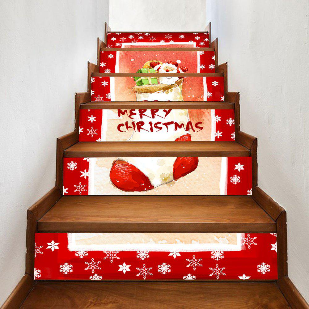 Christmas Sock Snowflake Pattern Stair Stickers - RED 100*18CM*6PCS