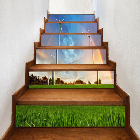 Grassland Windmill Pattern Stair Stickers - COLORMIX 100*18CM*6PCS