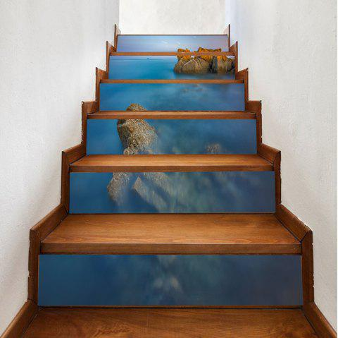Ocean Stone Pattern Stair Stickers - COLORMIX 100*18CM*6PCS