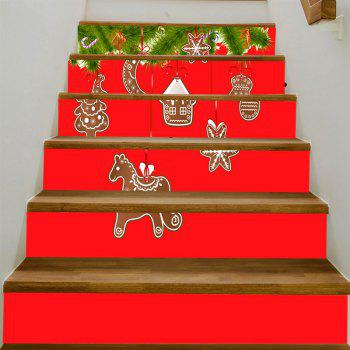 Christmas Biscuits Pattern Stair Stickers - RED 100*18CM*6PCS