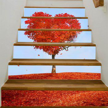Stickers d'escalier en érable - Rouge 100*18CM*6PCS