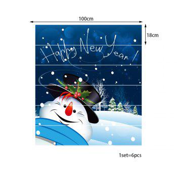 Happy New Year Snowman Pattern Stair Stickers - COLORMIX 100*18CM*6PCS