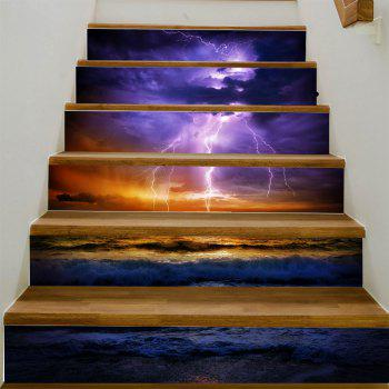 Ocean Lightning Pattern Stair Stickers - COLORMIX 100*18CM*6PCS