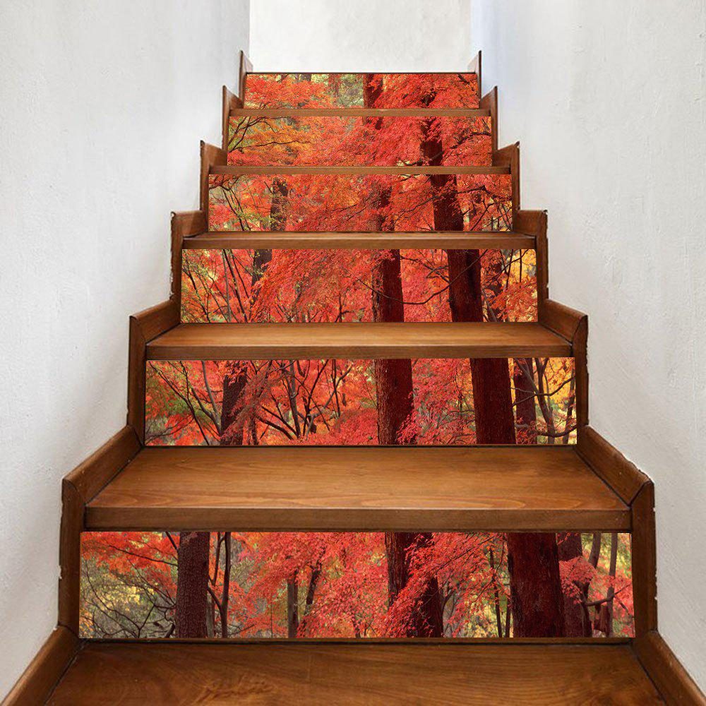 Maple Forest Pattern Stair Stickers - ORANGE 100*18CM*6PCS