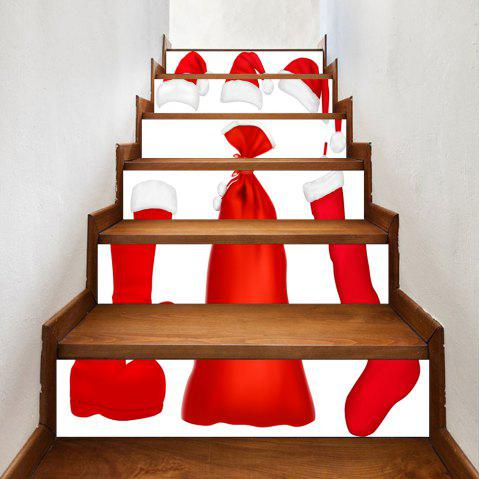 Christmas Costume Pattern Stair Stickers - RED 100*18CM*6PCS