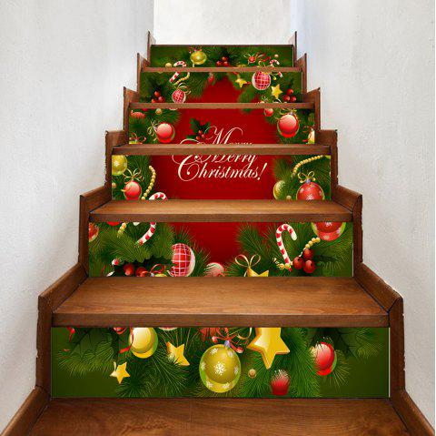 Autocollants d'escalier motif sapin de Noël ornement - multicolore 100*18CM*6PCS