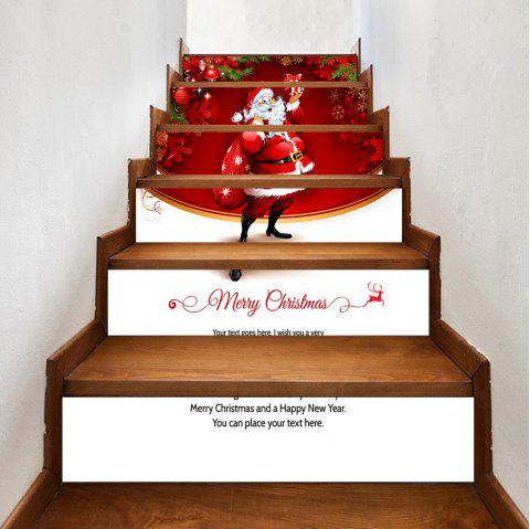 Autocollants d'escalier Santa Claus Christmas Pattern - Rouge 100*18CM*6PCS