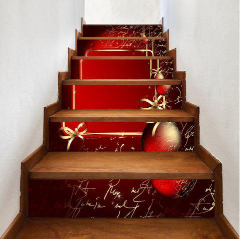 Christmas Baubles Letter Pattern Stair Stickers - RED 100*18CM*6PCS
