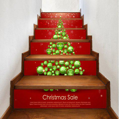 Christmas Balls Tree Letters Pattern Stair Stickers - COLORMIX 100*18CM*6PCS