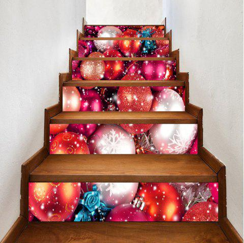 Snowy Christmas Balls Pattern Stair Stickers - COLORMIX 100*18CM*6PCS