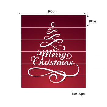 Merry Christmas Letters Pattern Stair Stickers - RED 100*18CM*6PCS