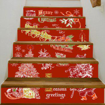 Christmas Tree Santa Letters Pattern Stair Stickers - RED 100*18CM*6PCS