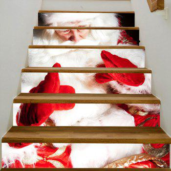 Christmas Santa with Gloves Pattern Stair Stickers - WHITE 100*18CM*6PCS