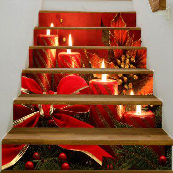 Christmas Candles Bowknot Pattern Stair Stickers - RED 100*18CM*6PCS