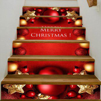 Christmas Stars Balls Pattern Stair Stickers - RED 100*18CM*6PCS