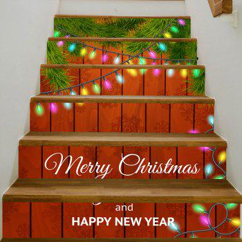Christmas Woodgrain Greetings Pattern Stair Stickers - COLORMIX 100*18CM*6PCS