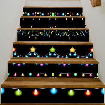 Christmas Fairy Lights Pattern Stair Stickers - COLORMIX 100*18CM*6PCS