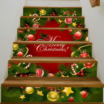 Christmas Pine Tree Ornaments Pattern Stair Stickers - COLORMIX 100*18CM*6PCS