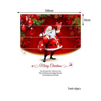 Santa Claus Christmas Pattern Stair Stickers - RED 100*18CM*6PCS