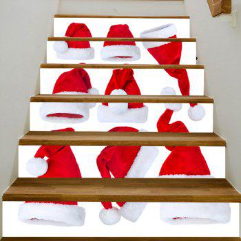 Christmas Hats Pattern Stair Stickers - RED 100*18CM*6PCS