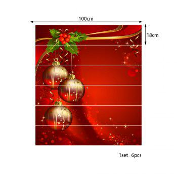 Christmas Fruit Balls Pattern Stair Stickers - RED 100*18CM*6PCS