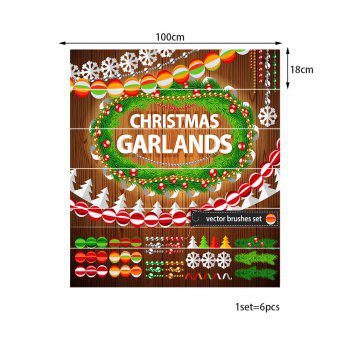 Christmas Garlands Pattern Stair Stickers - COLORMIX 100*18CM*6PCS