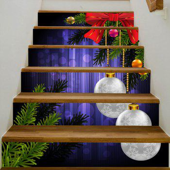 Christmas Balls Pine Tree Pattern Stair Stickers - COLORMIX 100*18CM*6PCS