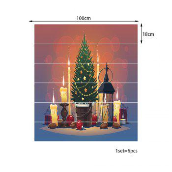 Christmas Tree Candles Pattern Stair Stickers - COLORMIX 100*18CM*6PCS