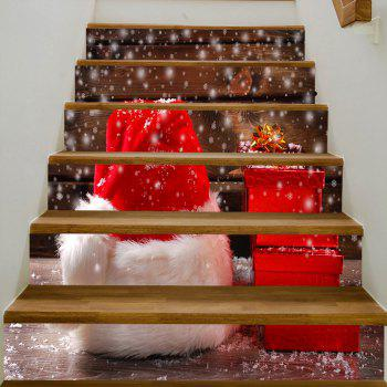 Christmas Hat Gifts Pattern Stair Stickers - RED 100*18CM*6PCS
