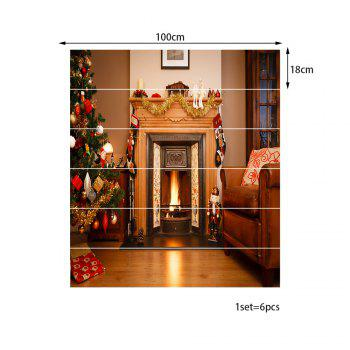 Christmas Fireplace Living Room Pattern Stair Stickers - COLORMIX 100*18CM*6PCS