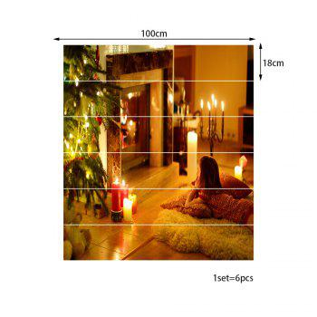 Christmas Fireplace Candles Pattern Stair Stickers - COLORMIX 100*18CM*6PCS