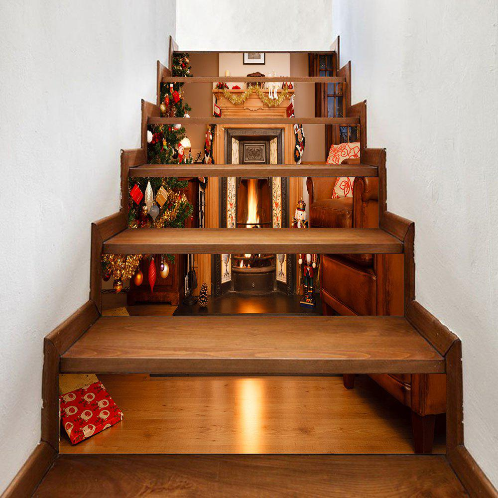 Christmas Fireplace Living Room Pattern Stair Stickers 236650801