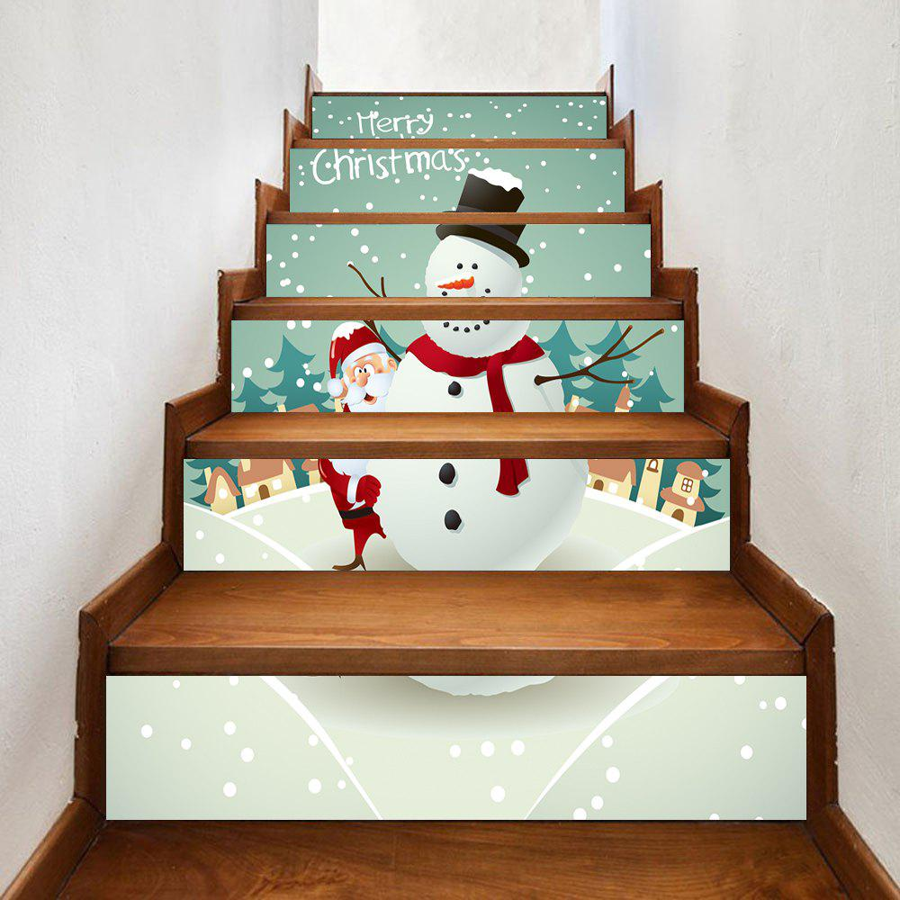 Christmas Snowman Santa Claus Pattern Stair Stickers christmas snowman pattern door stickers