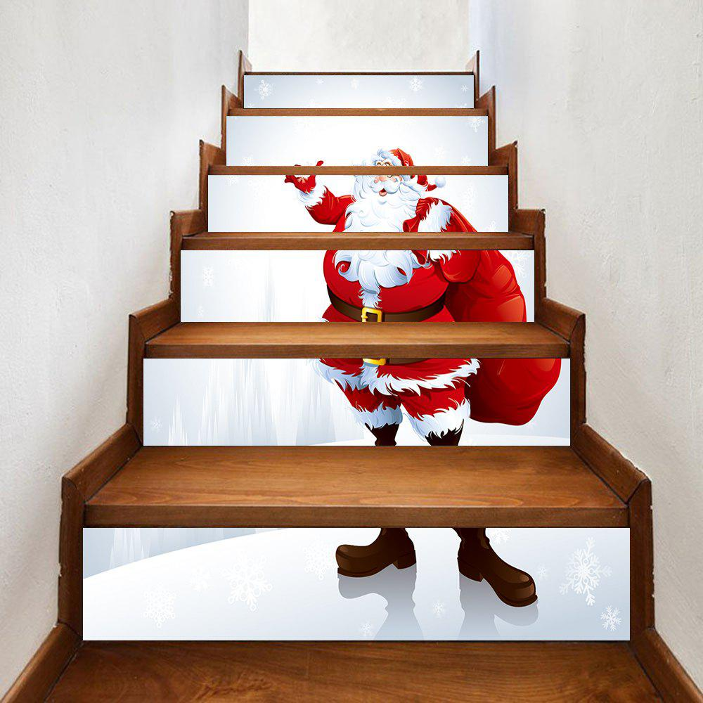 Christmas Santa with Bag Pattern Stair Stickers - RED 100*18CM*6PCS