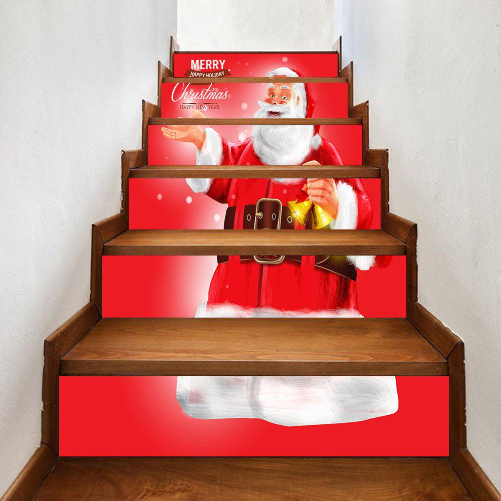 Christmas Greetings Santa Claus Pattern Stair Stickers - RED 100*18CM*6PCS