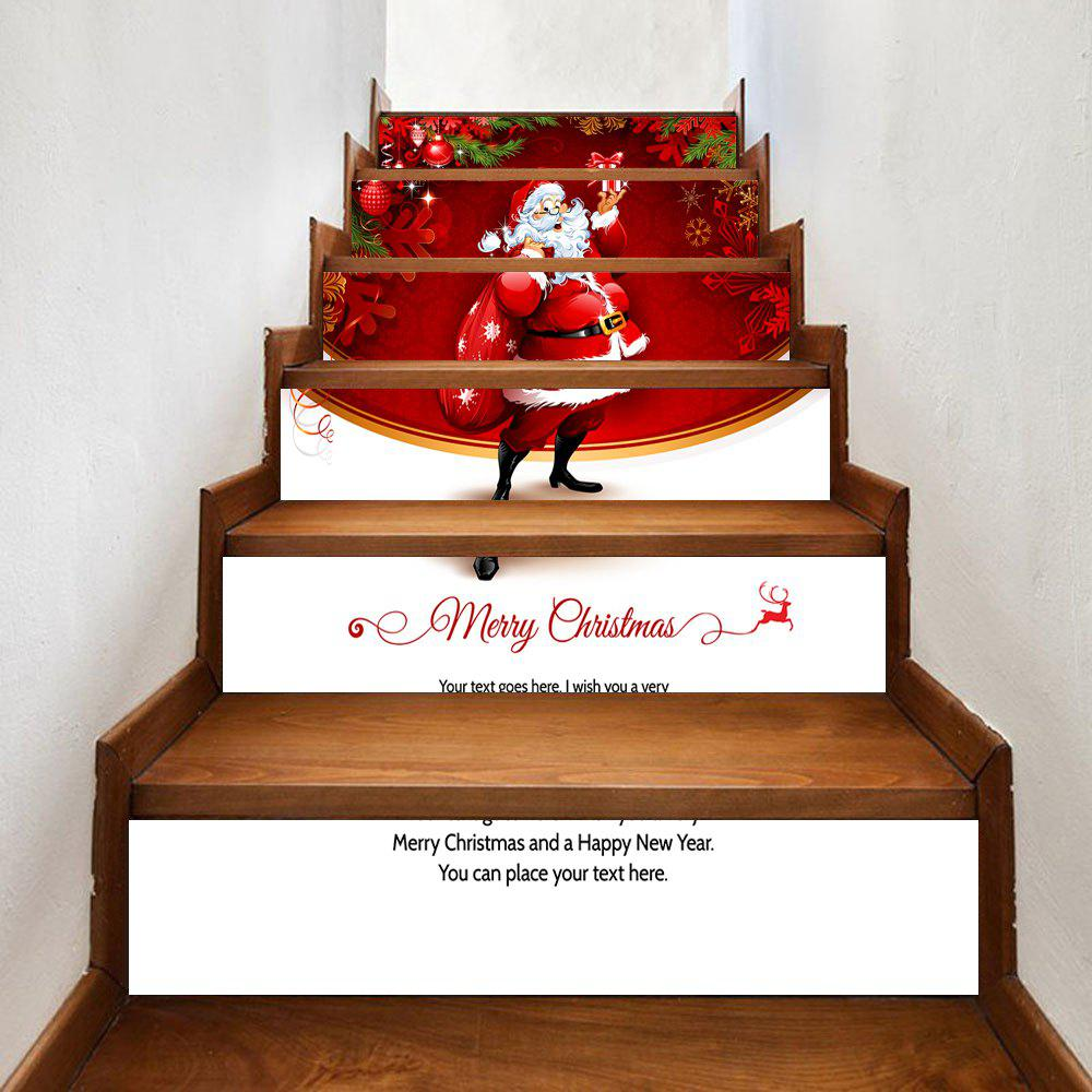Santa Claus Christmas Pattern Stair Stickers fat santa claus pattern door cover stickers