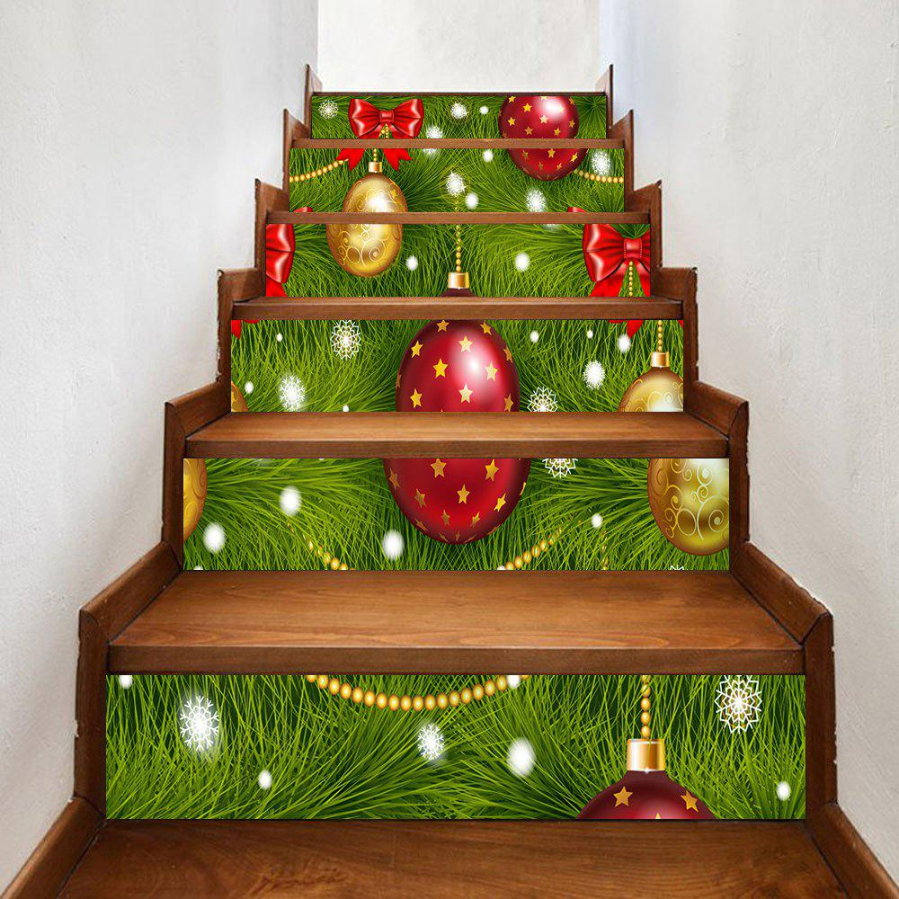 Christmas Bowknot Balls Pattern Stair Stickers - GREEN 100*18CM*6PCS