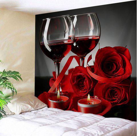 Valentine's Day Rose Print Tapestry Wall Hanging Art - COLORMIX W91 INCH * L71 INCH