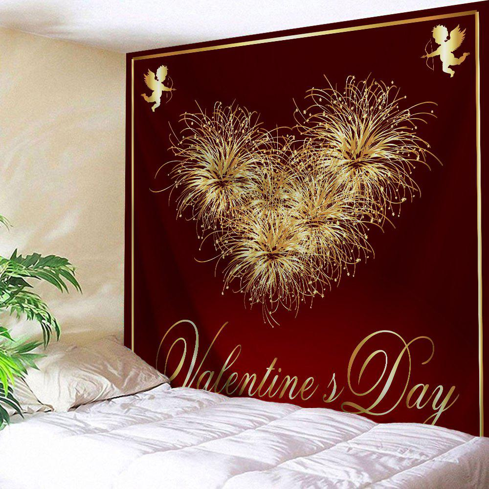 Valentine's Day Heart Print Tapestry Wall Hanging Art valentine s day wine glass heart printed wall art tapestry