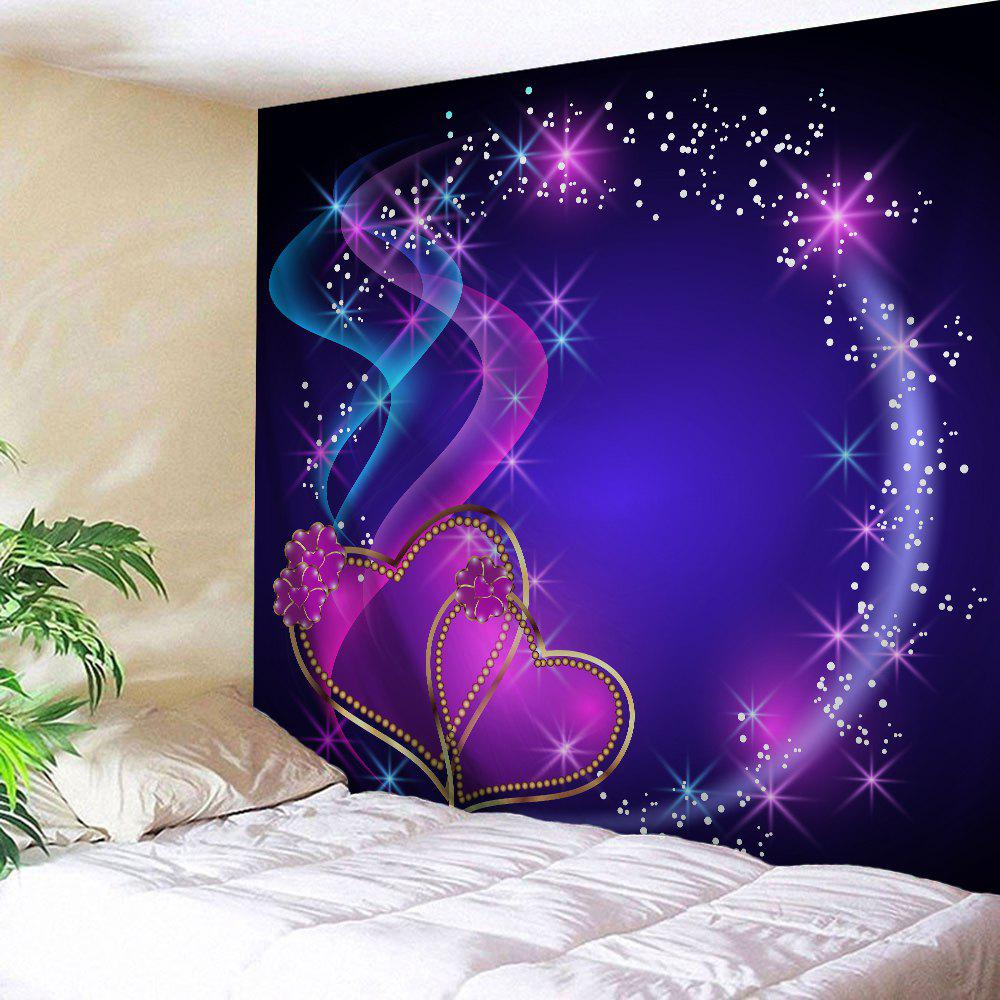 Heart Print Tapestry Valentine's Day Wall Hanging Art valentine s day heart starlight print tapestry wall hanging decoration