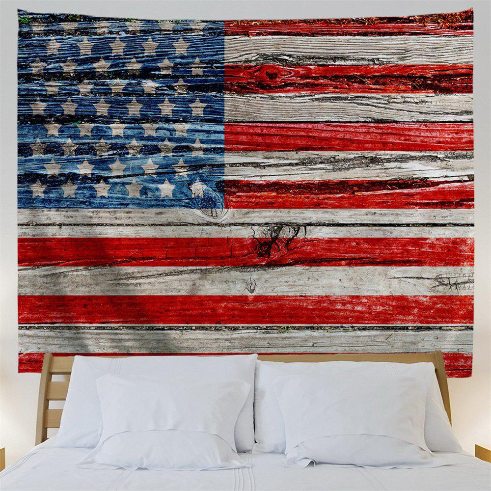 American Flag Wood Print Tapestry Wall Hanging Art - COLORMIX W91 INCH * L71 INCH