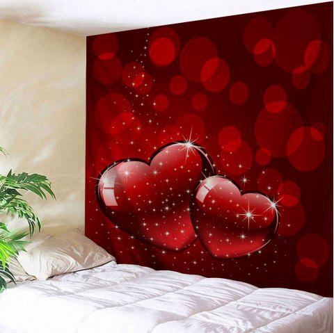 Valentine's Day Hearts Print Tapestry Wall Hanging Art Decor - RED W59 INCH * L59 INCH