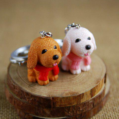 Boutique Scarf Dog Style Key Chain for Lovers 2pcs - WHITE/BROWN