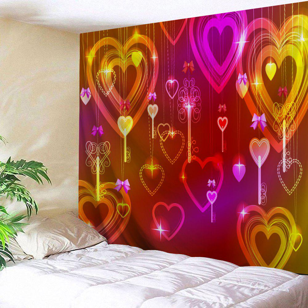 Valentine's Day Hearts Print Tapestry Wall Hanging Decor valentine s day heart starlight print tapestry wall hanging decoration