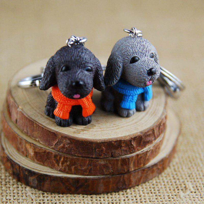 Scarf Dog Style Key Chain for Lovers 2pcs - BLACK/GRAY