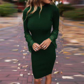 Lace Insert Knitted Bodycon Dress - GREEN GREEN