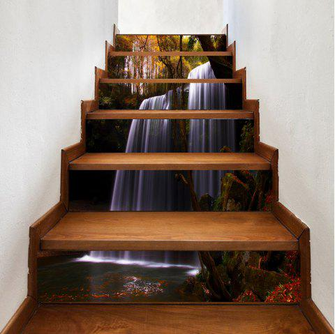 Forest Waterfall Pattern Decorative Stair Decals - COLORMIX 100*18CM*6PCS