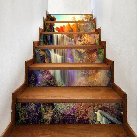 Waterfall Rainbow Pattern Decorative Stair Decals - COLOR 100*18CM*6PCS