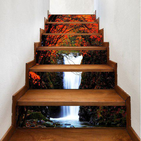 Maple Forest Waterfall Pattern Decorative Stair Decals - COLORMIX 100*18CM*6PCS